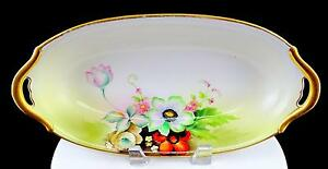"MEITO CHINA JAPAN FLORAL GOLD TRIM HANDLED 12 1/8"" OVAL BOWL 1908-1930"