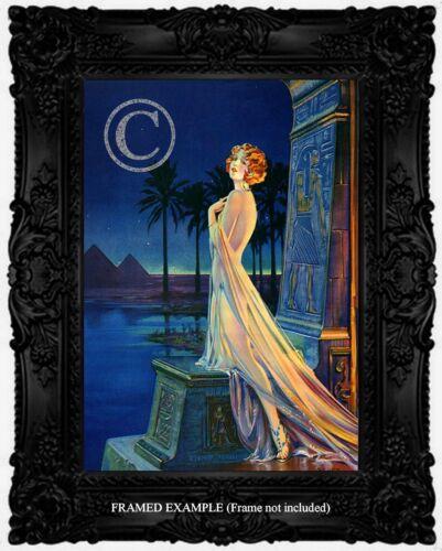 ART DECO Redhead WOMAN EGYPTIAN PYRAMIDS Lingerie Antique Repro ART PRINT Clive