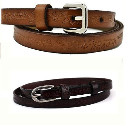 Retro Fashion Womens Genuine Leather Printing Thin All-match Pin Buckle Belt New