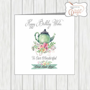Image Is Loading Personalised Birthday Card Teapot Flowers Great Aunt Mum