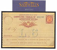 MS2343 1890s ITALIA Postal Stationery * la Cartolina-Vaglia * Belle inutilizzati Pacco Carta