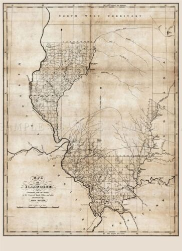 MAP ANTIQUE MELISH 1818 ILLINOIS STATE OLD LARGE REPLICA POSTER PRINT PAM1050