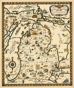 1935 Pictorial Map Commonwealth Michigan Native American Sites