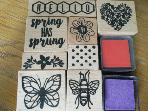 Heart Butterfly Bee Card Making SPRING Crafting Stamping Set With 2 Inks