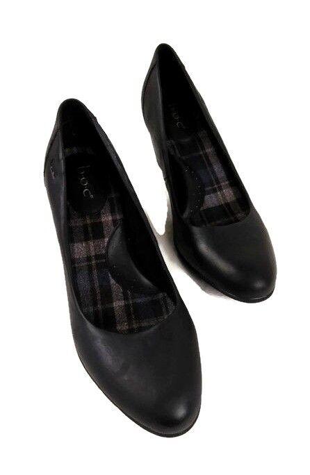 Born Womens Pumps Leather Black Slip On Block Heels Work Casual shoes SZ 9M