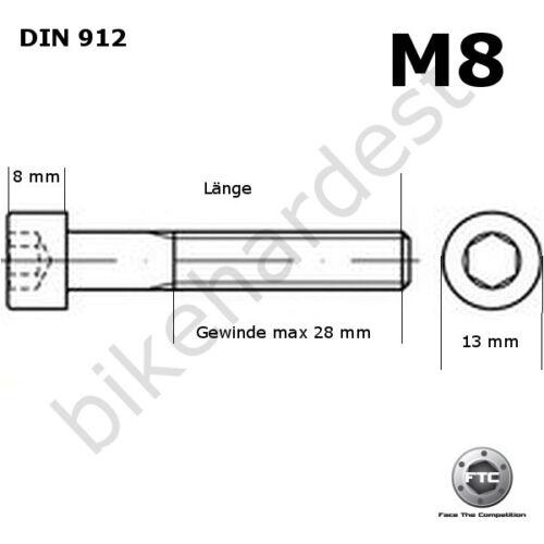 Tornillo de Titanio M8 X 16-50 Cónico din 912 Grado 5 Negro