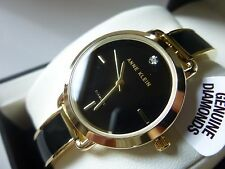 New Anne Klein AK/2422BKGB Diamond Black Face Enamel Gold Tone Women' Watch