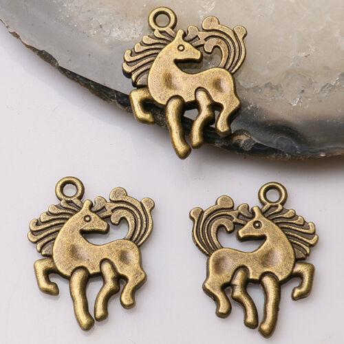 32pcs antiqued bronze color2sided Pegasus horse design charms  EF3513