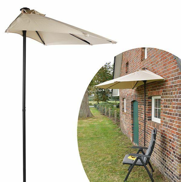Wand Sonnenschirm Schirm Sonnenschutz Hauswand Halbrund Beige 220x200 cm