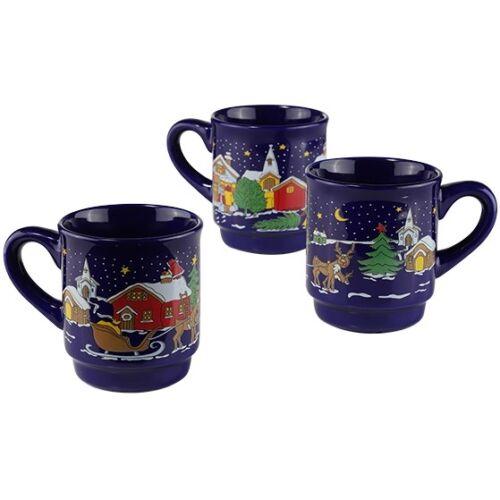 2x Glühweinbecher Keramik Glühwein-Becher mit Henkel 3 Weihnachtsmotive ca 0,2l