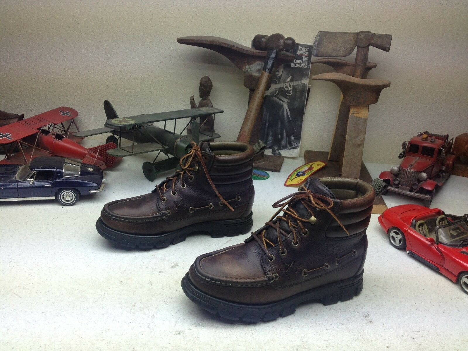 RALPH LAUREN POLO DARK BROWN LEATHER LACE UP ENGINEER TRAIL BOSS BOOTS 7.5 B