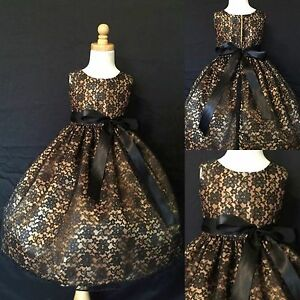 Black-Lace-Gold-Lining-Girls-Dress-Flower-Girl-Winter-Holiday-Elegant-Toddler-34
