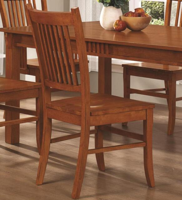 Medium Brown Oak Finish Mission Dining Arm Chair by Coaster 100623 - Set of 2