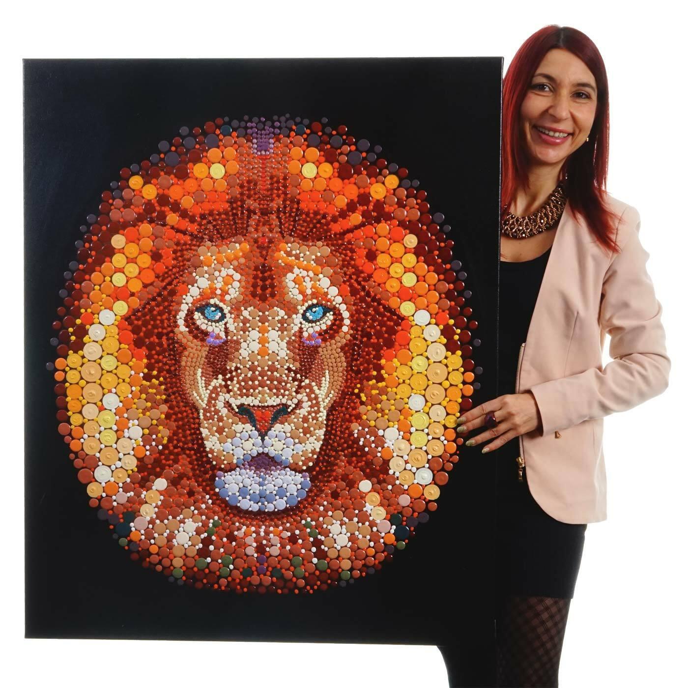 Ölgemälde Löwe, 100x80cm, 100% handgemaltes Wandbild Gemälde XL