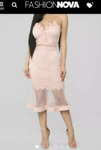 Women S Formal Dress Size Small Pink Blush Colored Lace Mesh Midi Dress Ebay