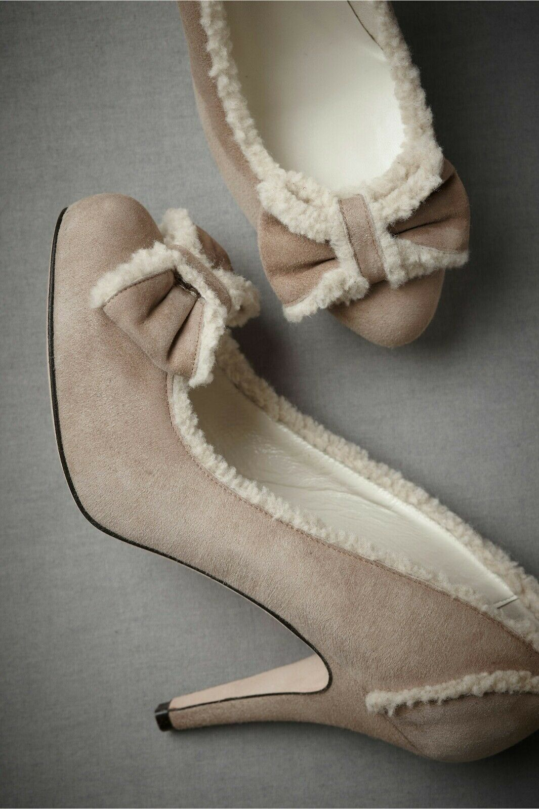 390 BHLDN wedding bride bow heels, leather, suede, anthropologie NEW 7.5, 7 1 2