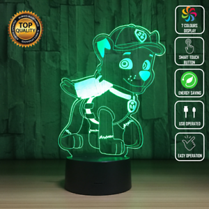 Details about ROCKY PAW PATROL CHASE 3D Acrylic LED 7 Colour Night Light  Touch Table Lamp