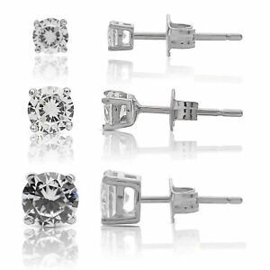 Sterling-Silver-Elegant-Round-CZ-Stud-Earrings-Set-Of-Three-Sizes