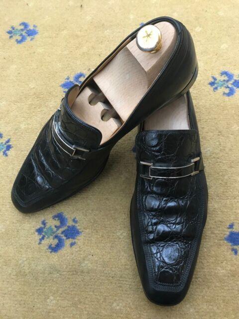 002655fd86c Gucci Mens Shoes Black Leather Horsebit Loafers Croc UK 9.5 US 10.5 EU 43.5  for sale online | eBay