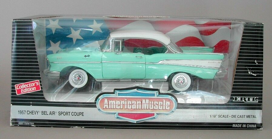 1 18 Ertl American Muscle Green 1957 Chevy Bel Air Sport Coupe Item 7331
