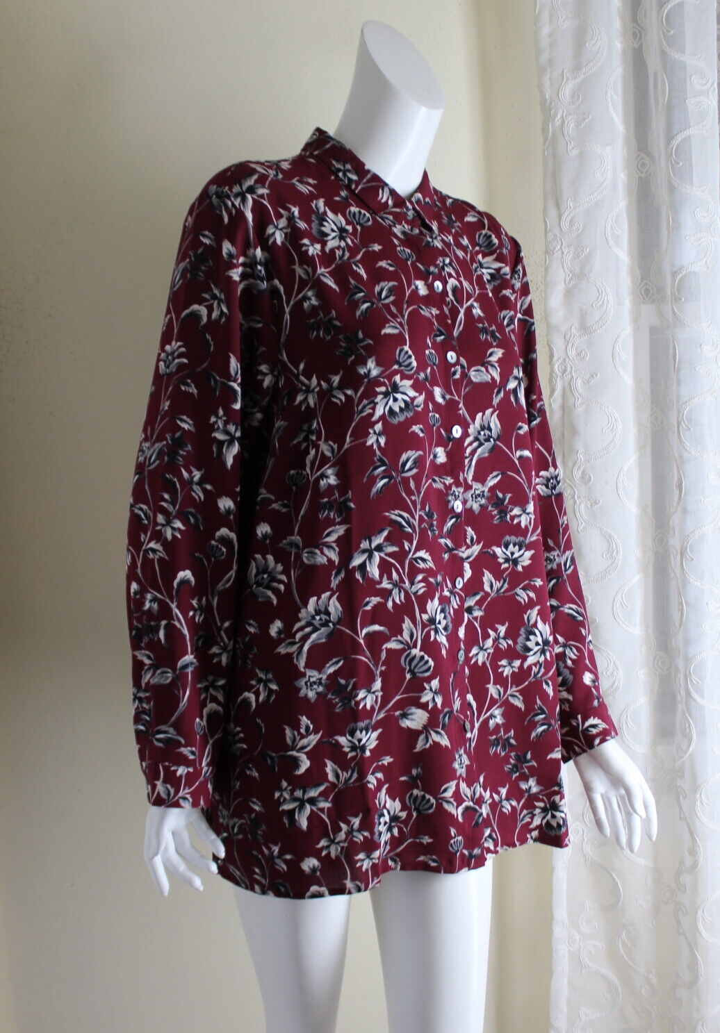 J.Jill XLP XL Petite Flowing Funky Floral Art-to-Wear Pleated Tunic Hemd Top