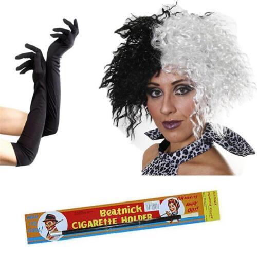 Cruella Deville Wig Holder Black Gloves Fancy Dress Costume 101 Dalmatian Fun