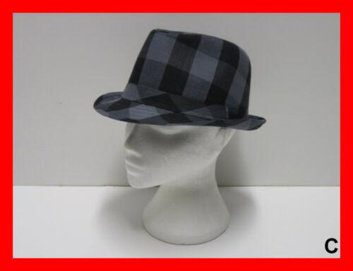 Tartan Lumberjack Check Floral Trilby Fedora Hat Cap 56-60cm White Black Red