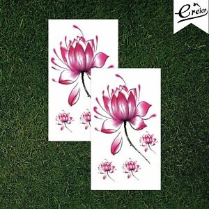 Water Lily Flower Temporary Tattoo Pink Floral Variety Airbrush Kids