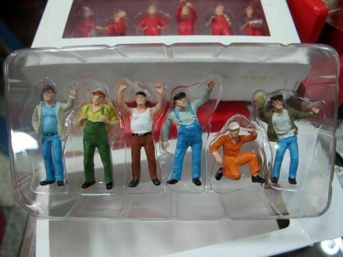 1//50 Scale Colorful Construction Workers Man Labor Figure Doll Model 6pcs Gifts