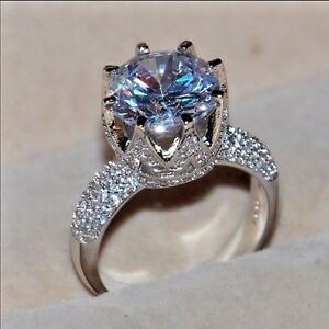 6 Carat 925 Sterling Silver Plated Engagement Wedding Ring Cz Ebay