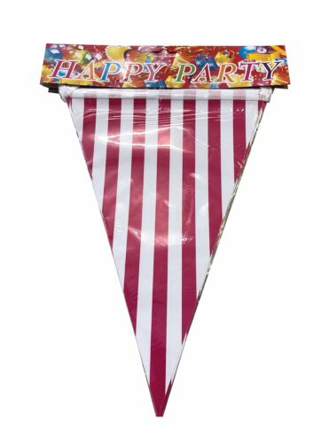 AEX Striped Lined Flag Shaped 8ft Party Decorations Bunting Banner Dark Pink