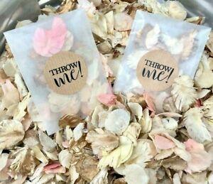 Biodegradable-Marriage-Confettis-paquets-secs-Ivoire-Cristal-Petale-Packs-Bags