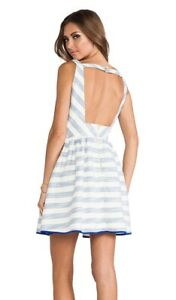 Line-amp-Dot-Fit-and-Flare-Nautical-Tweed-Dress-Open-Back-Metallic-Ivory-Blue-Sz-M