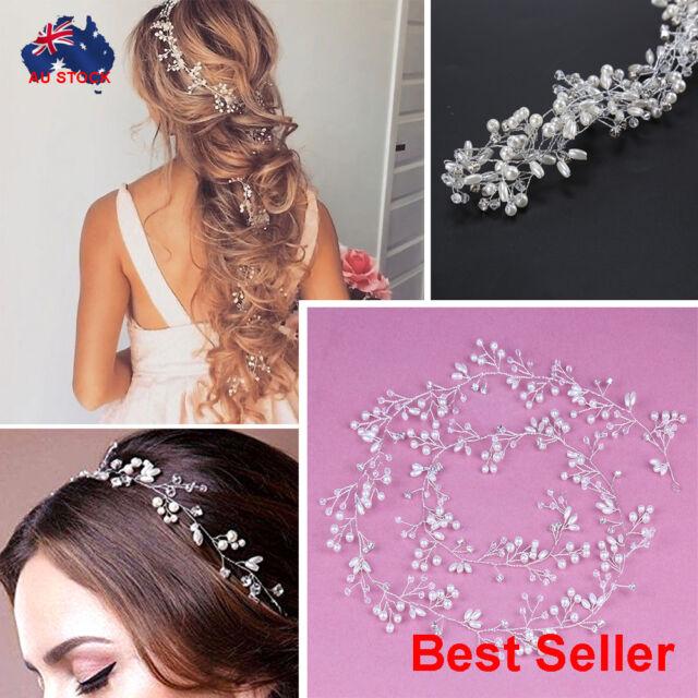 Women Pearl Crystal Headband Bridal Vine Headpiece Hair Wedding Headdress Chain