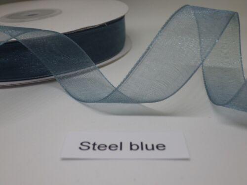 four widths in cut lengths Steel Blue Woven Edge Organza Ribbon free post