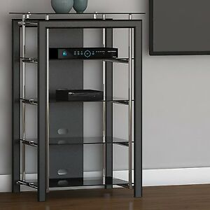 Image Is Loading Black Chrome Media Stand Audio Tower Electronics Cabinet