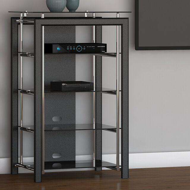 Details About Black AV Stereo Cabinet Media Shelves Audio Tower Electronics  Stand Glass Doors