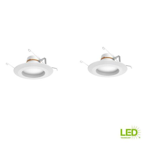 Commercial Electric 6 in Matte White Integrated LED Recessed Trim 5 Way 2-Pack
