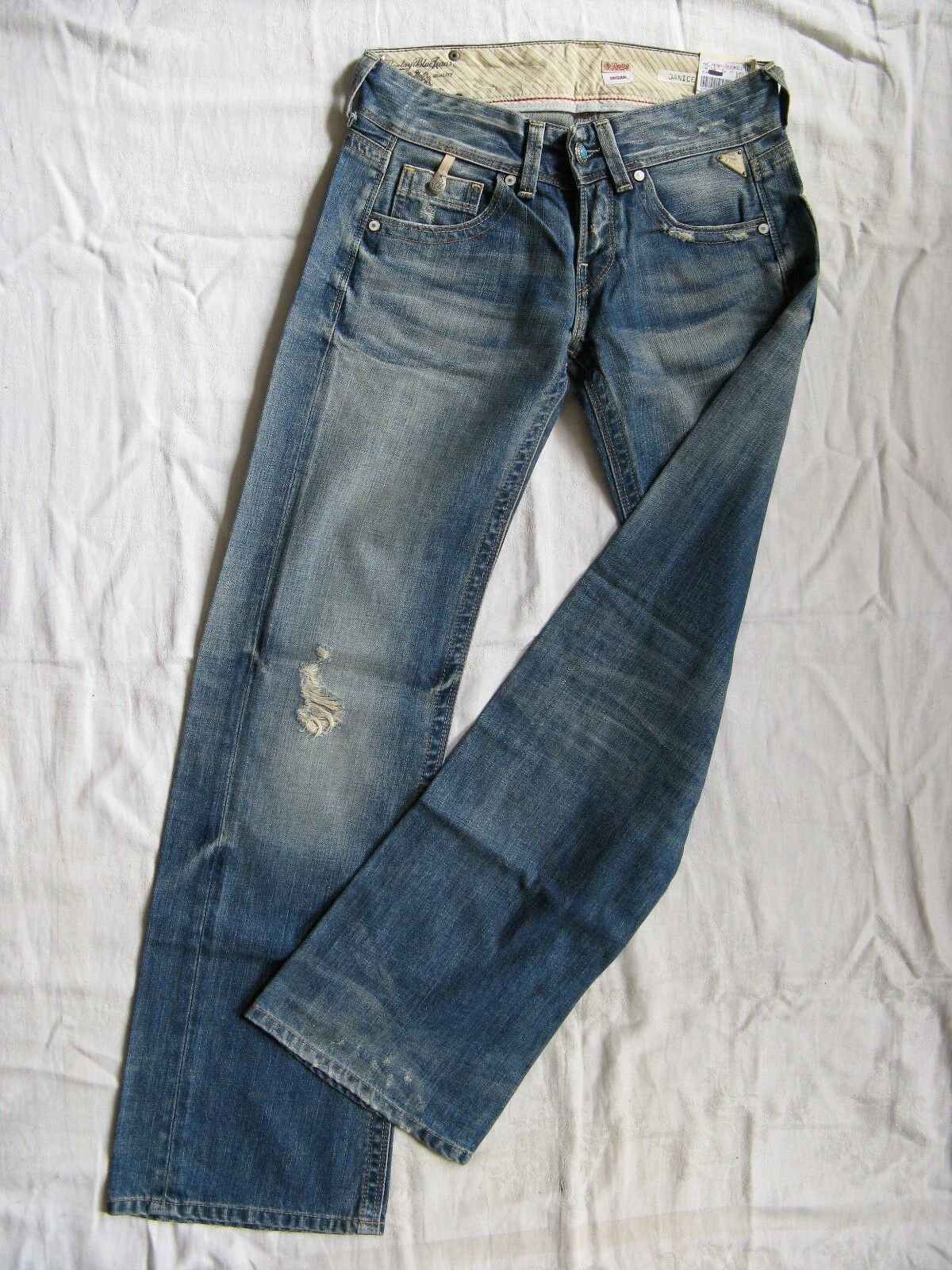 Replay Replay Replay Damen Blau Jeans Denim Baggy W25 L30 extra low waist loose fit wide leg | Hohe Qualität und geringer Aufwand  | Stilvoll und lustig  | Verschiedene Waren  | Sale Online Shop  | Einzigartig  96fa37