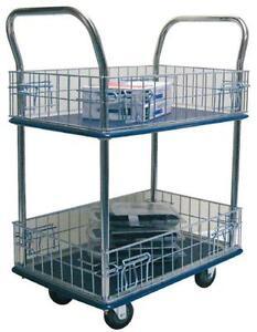 STURGO-Double-Platform-Trolley-with-Mesh-Sides-740-x-480mm-170kg-Capacity-Sydney