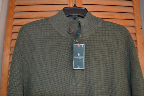 G.H Long Sleeve Button Front Waffle Sweater Pullover NWT MSRP $94 Bass /& Co