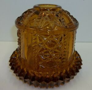 Vintage-Indiana-Glass-Amber-Fairy-Lamp-Light-Stars-Bars-Candle-Holder