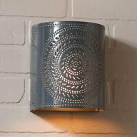Country Gray Punched Tin Chisel Wall Sconce Light /nice