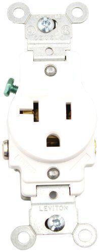 Leviton 20 Amp Receptacle 125v Simplex Single White | eBay