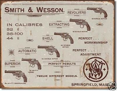 Advertising Collectibles Spirited Smith & Wesson Revolvers Metal Wall Sign 400mm X 310mm de