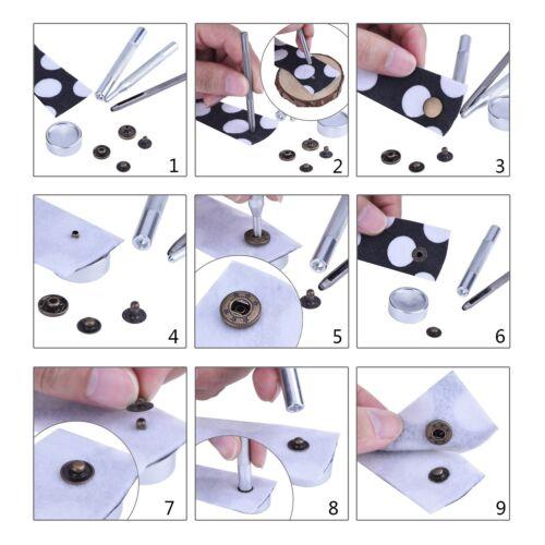 15mm S Printemps Boutons-Pression Boutons Fermeture Pression 4 Pièce Set Couture
