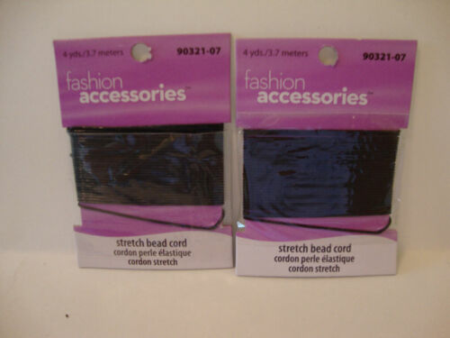 LOT OF 2 PACKS 4 YDS EACH BLACK STRETCH BEAD CORD