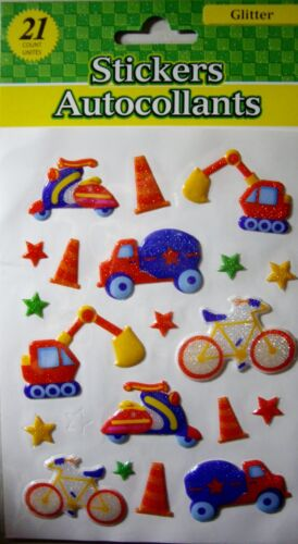 NEW 21 pc CARS SCOOTERS BIKES TRUCKS EARTHMOVERS  Glitter Puffy Stickers