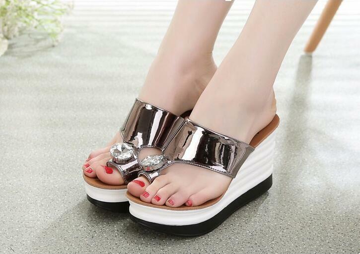 Femmes Plateforme Strass Chaussons Haut Talon Compensé Tongs Sandale Tongs chaussures