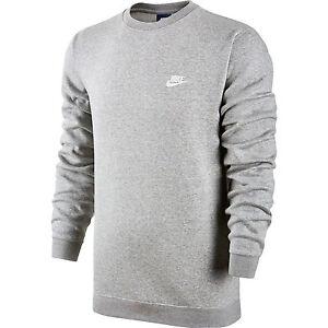 fdd2d212730d Nike Club Fleece Crew Neck Men s T-Shirt Grey Heather White 804340 ...